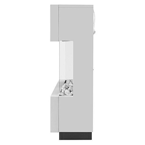 Klarstein Studio-1 • elektrischer Kamin • E-Kamin • Kaminofen • LED-Flammensimulation • große Front • MDF-Holz • 750 und 1500 W Leistung • Heizlüfter für 40 m² • Fernbedienung • Flammeneffekt steuerbar • Glasseitenteile und Kohlebett • weiß - 4