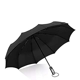 Amtop 46inch Travel Umbrella Auto Open Close Folding Golf Size and high-density Windproof Black Umbrella