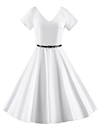iLover Vintage 1950's Audrey Hepburn pin-up robe de soirée cocktail Blanc