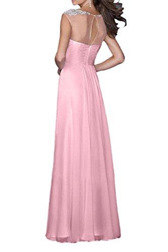 Promgirl House Damen 2016 Niedlich Rundkragen A-Linie Chiffon Ball Cocktail Party Abendkleider Lang Rosa