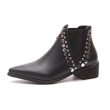 RTRY Scarpe Donna Pu Cadere La Moda Stivali Stivali Chunky Tallone Punta Tonda Rivetto Per Casual Nero Black Us8 / Eu39 / Uk6 / Cn39 US5.5 / EU36 / UK3.5 / CN35