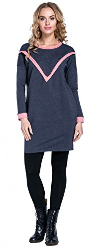 Happy Mama. Damen 2in1 Umstands Sweatshirt-Tunika Seitenreißverschluss. 317p Dunkle Jeans Melange