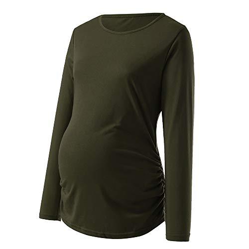 Lonshell Umstandsshirt Mutterschafts Basic Langarmshirt mit Gerüscht Schwangerschaft Umstandsmode T-shirt Bluse Herbst Weich Rundkragen Bauchfrei Oberteile