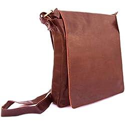 Leather Route. Bolso de Cuero para Hombre diseñado en España, de elaboración Artesanal y Cosido a Mano. Bandolera de Cuero con Gran Capacidad, Multifuncional, Suave y Resistente