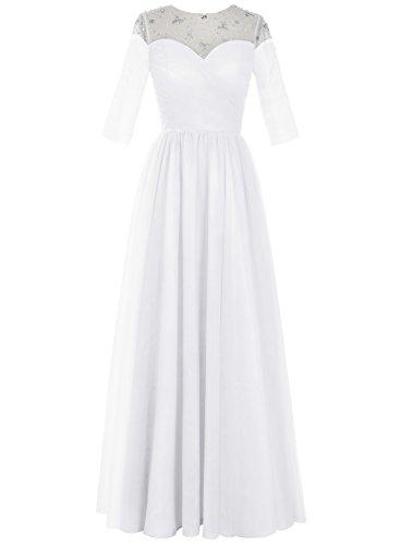 Bbonlinedress Robe longue de cérémonie en tulle forme empire avec manches Blanc