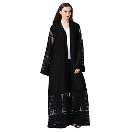 Amlaiworld  Damen-Strickjacke, Sommermode Frauen-ethnische Roben Abaya islamischer moslemischer Mittlerer Osten Maxi Kleid Verband Kaftan(Schwarz,S)