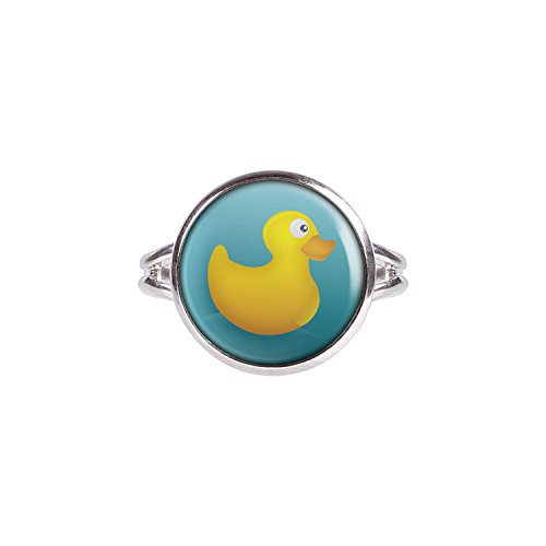 Mylery Ring mit Motiv Quietsche-Ente Gummi-Ente Bade-Ente Gelb Blau silber 14mm