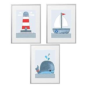Kinderzimmer Bilder Set deko maritim Kinderzimmer Deko Jungen Kinderzimmer Bilder Wal, Boot, Leuchtturm Babyzimmerbilder