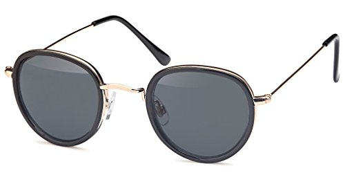 UVprotect unisex Rundbrille John Lennon Style Sonnenbrille mit leicht tropfenförmigem Glas schwarz W78-1
