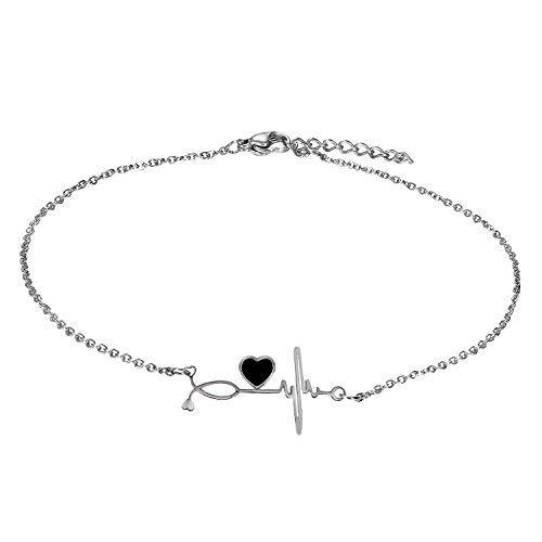Cupimatch EKG-Armband, Herzschlag, Cardiogramm, Armband für Krankenschwester, vestellbares Fußkettchen, mit Gliederkette, 26,7 cm