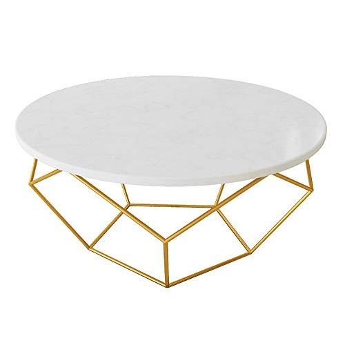 YIKE-Couchtische Weiße runde Marmor Couchtisch, transparente Textur, Gold Schmiedeeisen Stativ, kleine Wohnung Wohnzimmer Sofa Tisch, Größe: 60 × 45 cm, 80 × 45 cm -