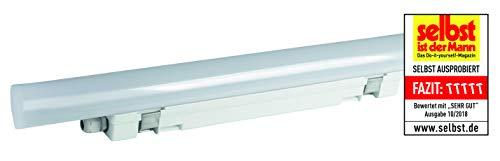 MÜLLER-LICHT Feuchtraumleuchte Aquafix Sensor, 1-8 m Reichweite, IP65, 4200 lm, 4000 K, mit integrierten LED, Durchgangsverdrahtung, mittig liegender Stromanschluss, 46 W, weiß, 150 cm