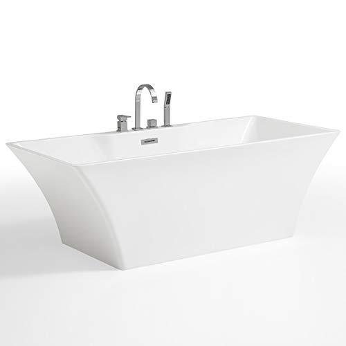Freistehende Badewanne mit Armatur weiß Modern Acrylbadewanne 170x80cm Neuss (mit Geruchsverschluss (Flachsiphon))