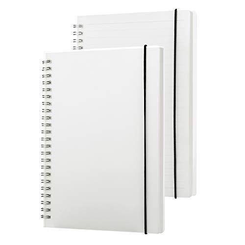 FolderSys - Taccuino a spirale, formato A5, con copertina rigida trasparente, 80 fogli con righe a puntini, fogli bianchi, con elastico B5 bianco