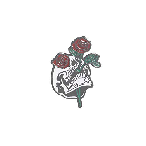 XJYA Rose Brosche Für Unisex Halloween Schädel Tropfen Öl Blume Schwarz Brosche