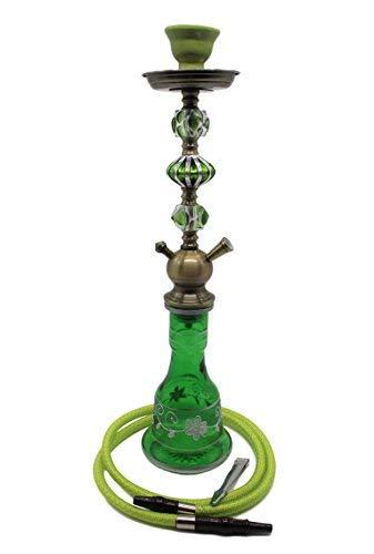 CT Hookah Shisha Hookah Pipa de Agua Oriental con decoración Tradicional, Aprox. 54 cm (Green)