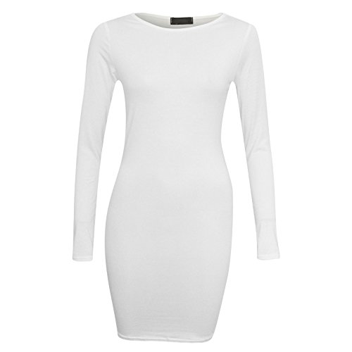 Flirty Wardrobe robe Midi Bodycon stretch à manches longues pour femme col rond uni 8-22 Blanc
