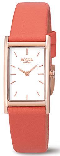 Boccia Damen Analog Quarz Uhr mit Leder Armband 3304-06