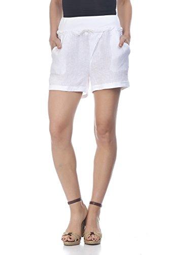 Laura Moretti - Leinen-Shorts mit breiter elastischer Taille und Kordelzug (Pants Elastische Knit Taille Jersey)