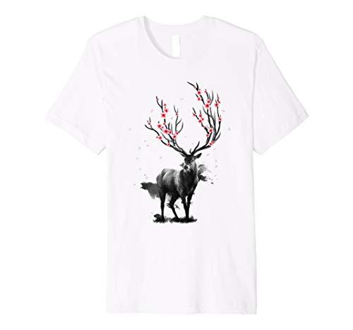 Floral-design-t-shirt (Sakura Hirsch Japanese Cherry Blossom Kirschblüte T Shirt)