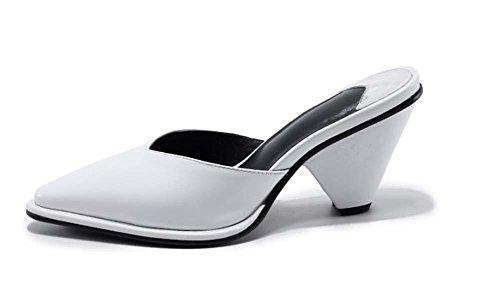 NobS A punta le dita dei piedi tacco a cono Scarpe Donna tacchi bianchi da lavoro Sandali Casual white slippers
