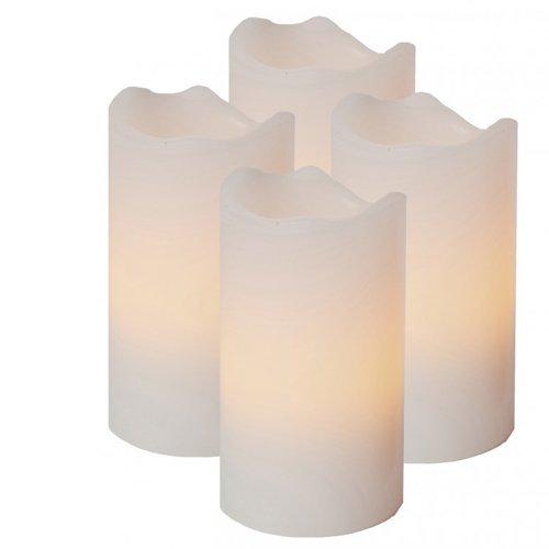 Idena 4 LED Echtwachskerzen, alle 4 Kerzen seperat ein und ausschaldbar, inkl. 4 Kerzenhalter mit Dorn, Plastik, Weiß
