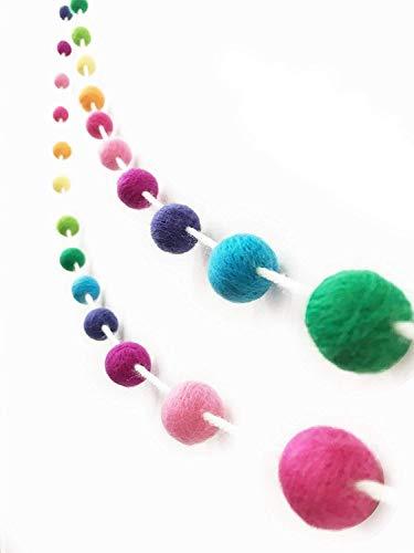 Gnognauq Palline Feltro Ghirlanda Colorate Pon Pom Palline Feltro Lana per Decorazione di Casa Feste Giardino Materiale per Hobby Creativi 35 pezzi Palline