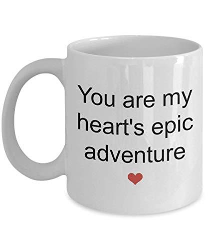 Dozili Lustige Kaffeetasse – Geschenke für die Ehefrau – You Are My Heart's Epic Adventure Tasse, Neuheit Geburtstag Jahrestag Geschenk-Ideen, 312 ml, Weiß