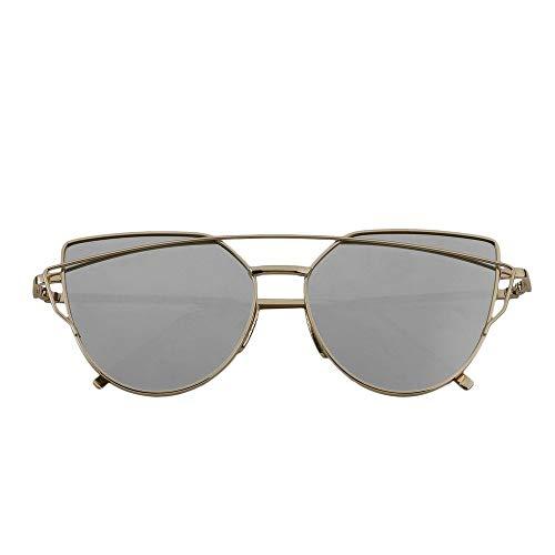 Reflektierende UV-Schutz Sonnencreme Linsen Damen Cateye Sonnenbrille Metallrahmen Stern Charming Attraktive Stilvolle