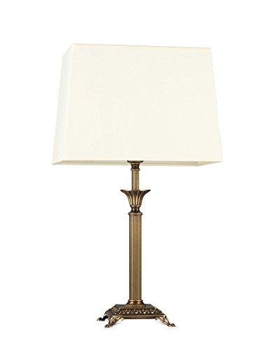 Helios Leuchten 403775/6 romantisch klassische Tischleuchte Tischlampe Kandelaber | Messing antik | Altmessing, Lampenschirm rechteckig pastell-gelb, für LED Lampen geeignet