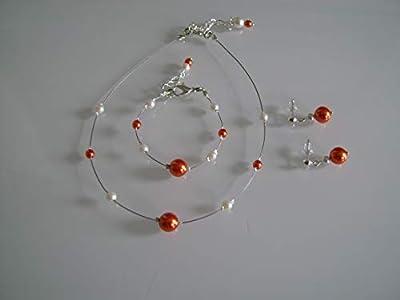 Parure enfant fille femme grande taille bijoux Collier bracelet boucles perle Orange Blanc Ivoire Mariée/Mariage/Soirée/Cérémonie/Cocktail (pas cher, petit prix)