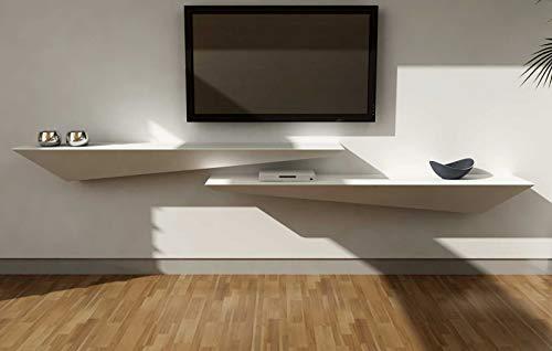 Étagère Mur Design en bois laqué blanc mat cm 160x30 (à droite)