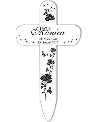 Livingstyle & Wanddesign Personalisiertes Grabkreuz mit Rosen 3 in Weiß, klein 25 x 13,5 cm