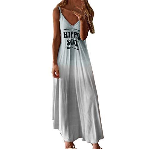 Junjie Frauen Plus Size Brief ärmellos allmählich Blumendruck langes Kleid Sommerkleid kurz Short elegant Basic große größe Maxi-Kleid blau, grün, rosa, grau -