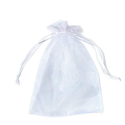 PLECUPE 100 Pezzi 20x30cm (7.9x11.8 Pollici) Sacchetti Organza Sacchetti Regalo, Organza Bags Saccgetti Portaconfetti Borse Gioielli Sacchetto di Caramelle - Bianca