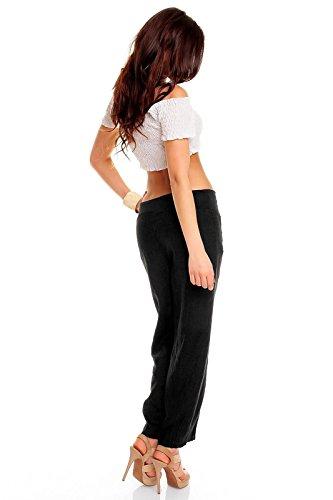 Easy Young Fashion Damen Sommer Leinenhose mit weitem Bein Schwarz