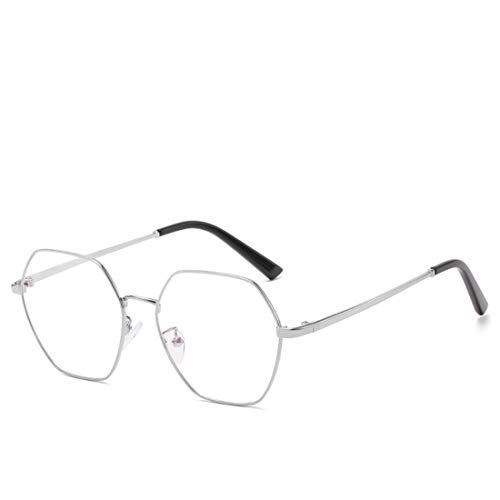 Shiduoli Fashion Eyewear Frame Glasrahmen Unisex Stilvolle Brille ohne Rezept (Color : Silver)