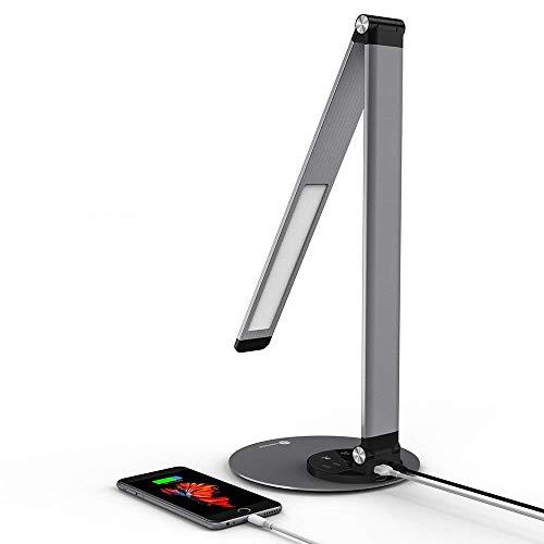 TaoTronics Lampe de Bureau Aluminium LED Ultra-mince en Haute Qualité Lampe de Chevet Réglable Design 6 Modes de Luminosité et 3 Températures de Couleur avec USB Port Female pour Recharger Smartphones,Programme de Licence Philips EnabLED - Gris Sidéral
