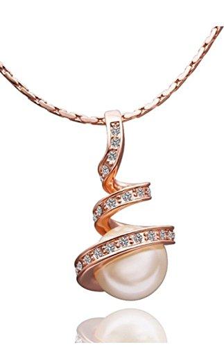 Bling Jewelry-Bracciale da donna placcato in oro rosa, motivo: Austria, colore: bianco perla e cristalli, con ciondolo bella confezione regalo. - Bella Bianco Collana Di Perle Bracciale