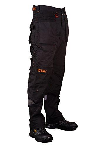 Arbeitshose Multi-Taschen Cargohose für schweren Gebrauch Arbeitskleidung Cordura genäht, um besonders belastete Stellen zu schützen mit Taschen für KnieschonerW32