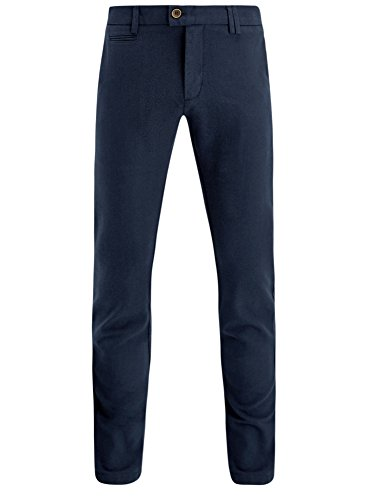 oodji Ultra Uomo Pantaloni Chino in Cotone, Blu, IT 48 / EU 44 / L