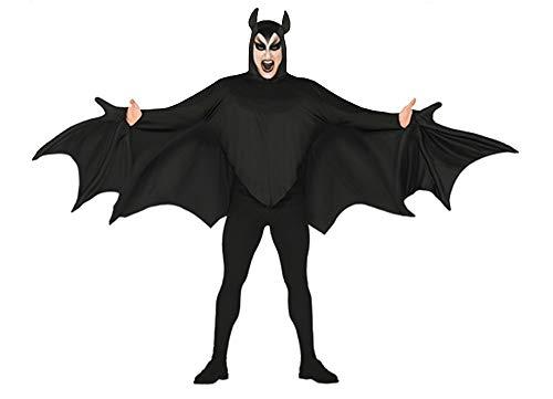 Fledermaus Kostüm Ohren - shoperama Herren Fledermaus-Flügel Shirt mit Kapuze und Ohren Gr. L Umhang Cape Bat Blutsauger Halloween-Kostüm