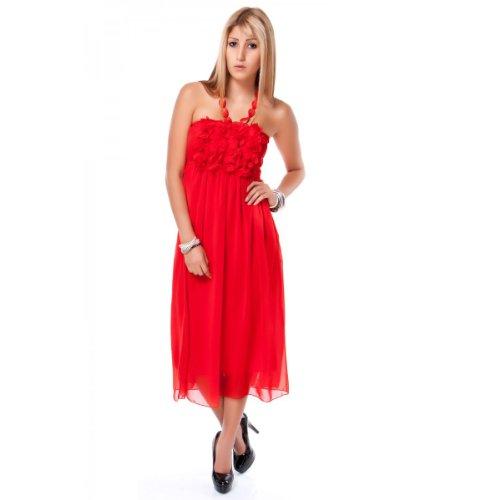 24brands - Robe de soir sans manches 7 couleurs licou - Femmes Rouge