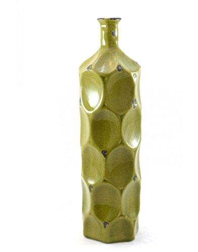 Homeline-antik (Homeline Vase aus keramik, antik, wellen (12x45) - Grün)