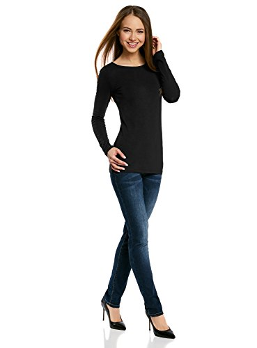 oodji Collection Damen Langarmshirt Schwarz (2900N)