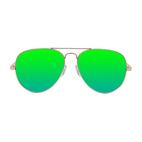 OCEAN SUNGLASSES - Banila aviator - lunettes de soleil en MÃBlackrolltal - Monture : DorÃBlackroll - Verres : Revo Vert (3701.1)