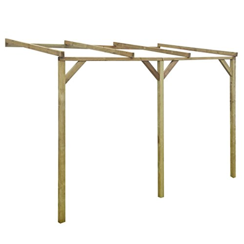 Festnight Hölzerne Anlehn-Pergola Pergola Terrassendach Terrassenüberdachung aus Holz für...