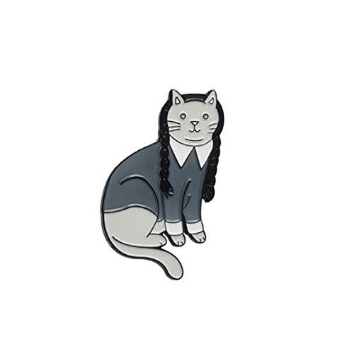 Weryffe Vintage Katze Hexe Mittwoch Katze Pin Goth Katze Punk Dunkle Broschen Jacke Mantel Kragen Pin Abzeichen Tuch Dekoration Zubehör ()