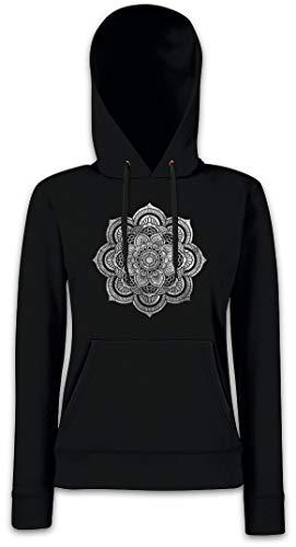 Urban Backwoods Flower Mandala II Hoodie Sudadera con Capucha para Mujer Negro Talla M