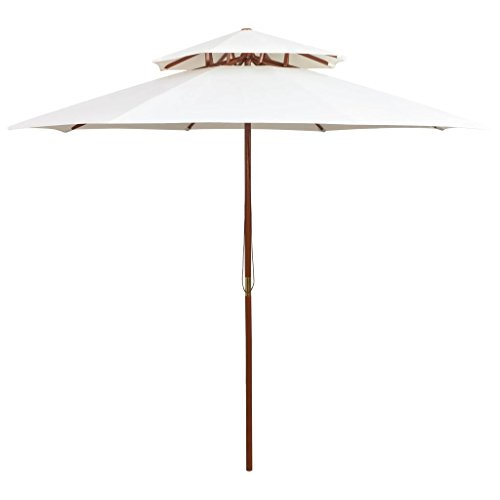 vidaXL Parasol de Terrasse Pare-Soleil Parasol de Jardin Parasol de Patio Parasol d'Extérieur Résistant aux UV 270x270 cm Poteau en Bois Blanc Crème